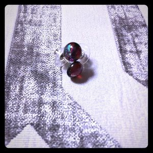 Red multicolored sparkle earrings